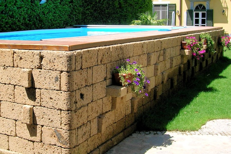 Rivestimento in legno per piscine fuori terra zs15 for Piscina in giardino