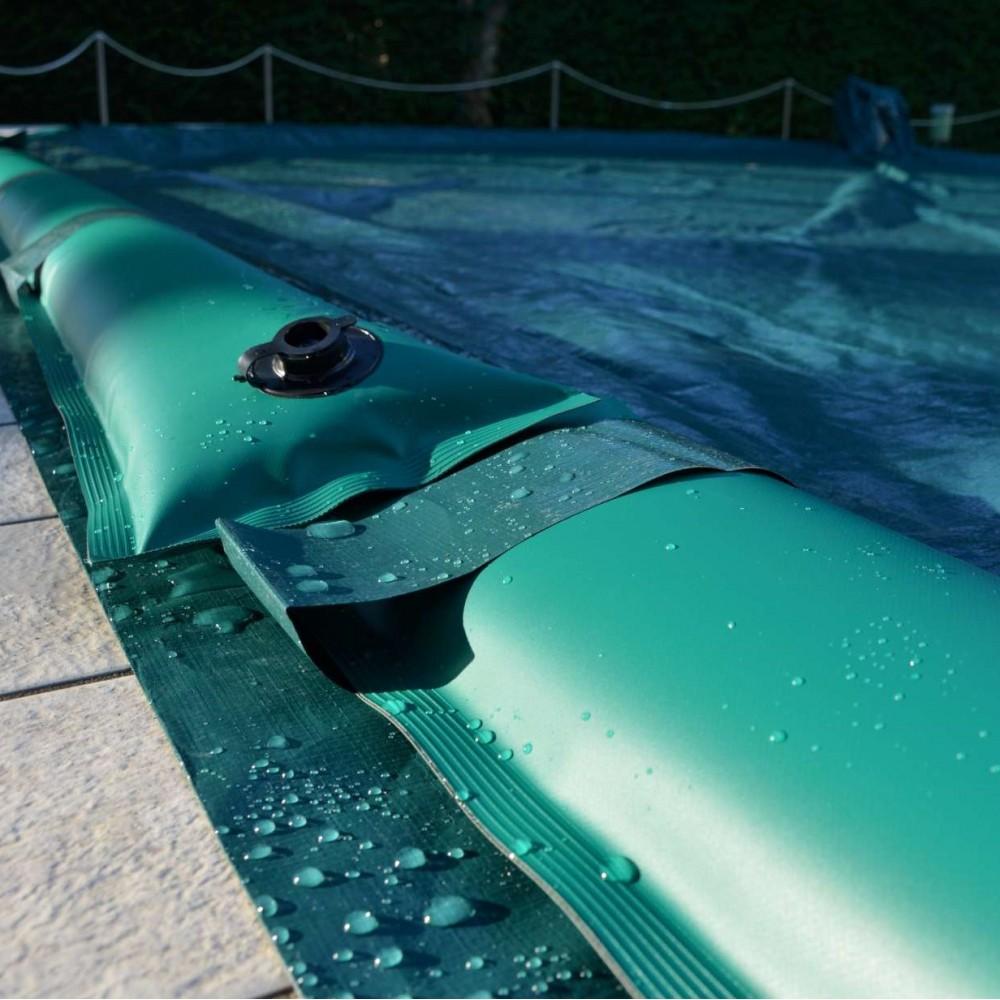 1 Copertura invernale galleggiante in kit con salsicciotti per piscine 8 x 4 m