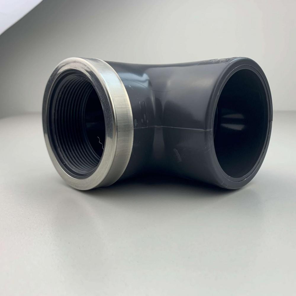 """Gomito a 90° PVC Diametro 50 mm 1 1/2"""" Filetto-Incollaggio F/F Rinforzato"""