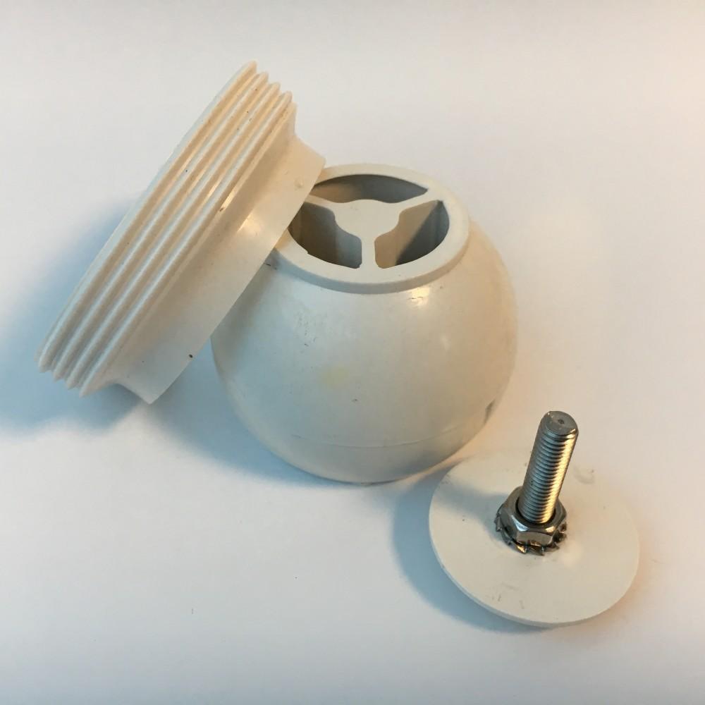 Kit sfera orientabile e ghiera in ABS bianco per bocchette Pools