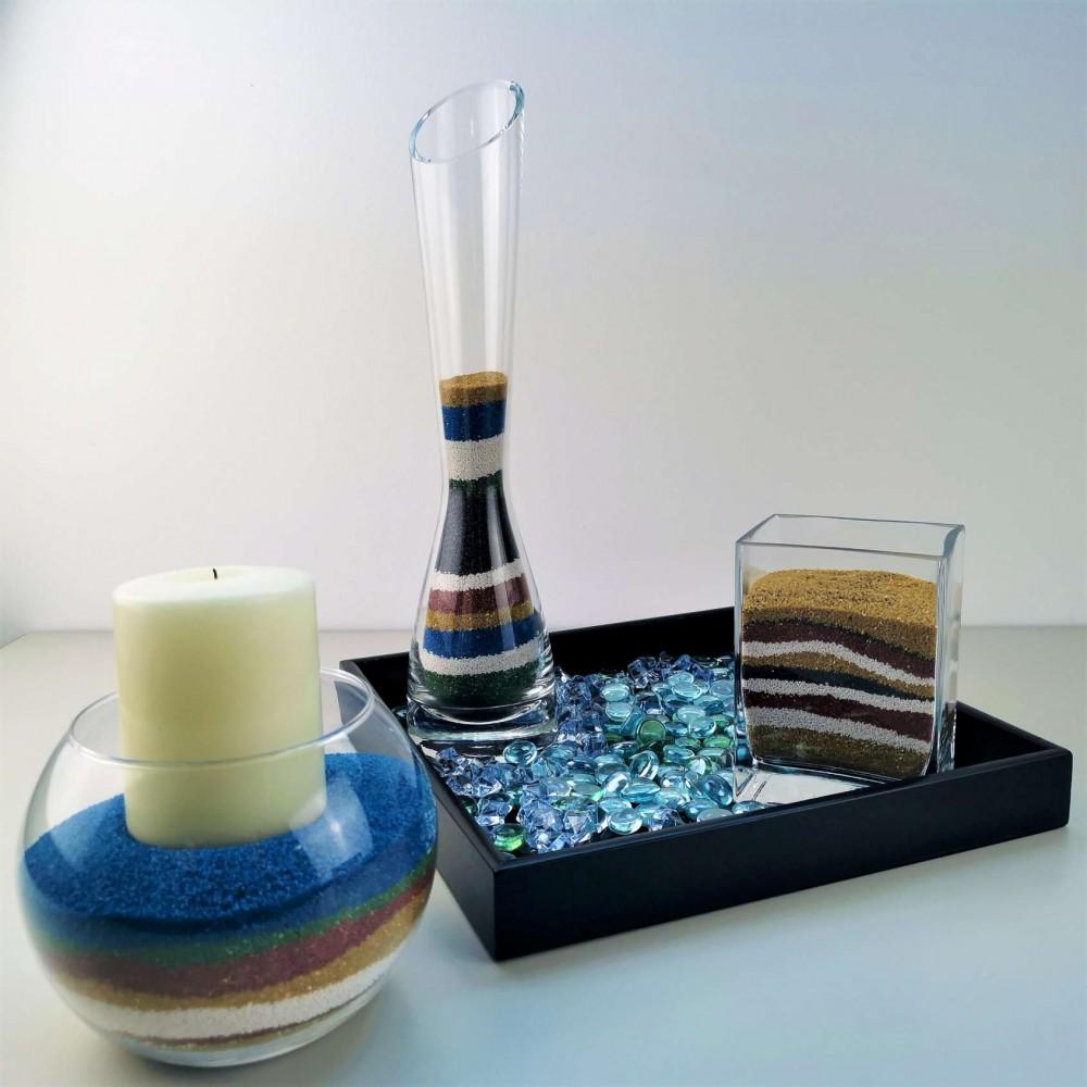 Sabbia colorata per decorazione giardino o vasi