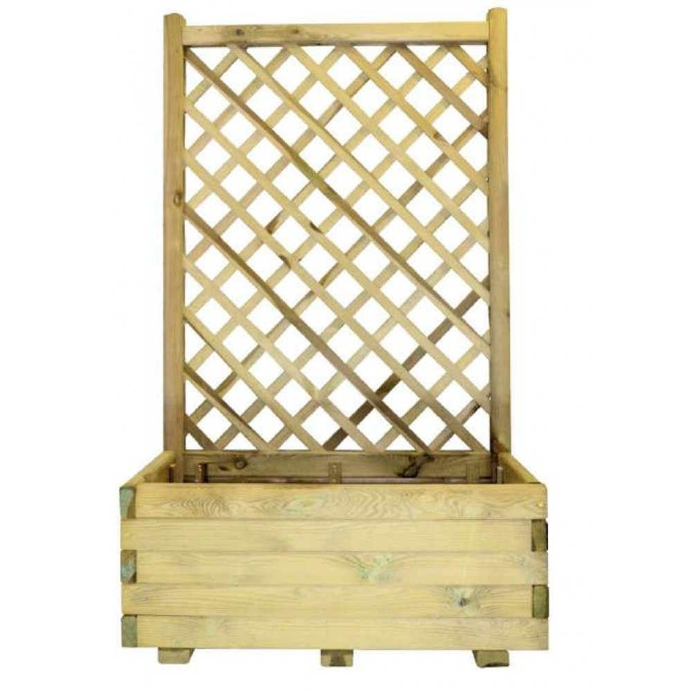 Fioriera con griglia composizione margherita in legno 80 cm x 40 cm x h 135 cm