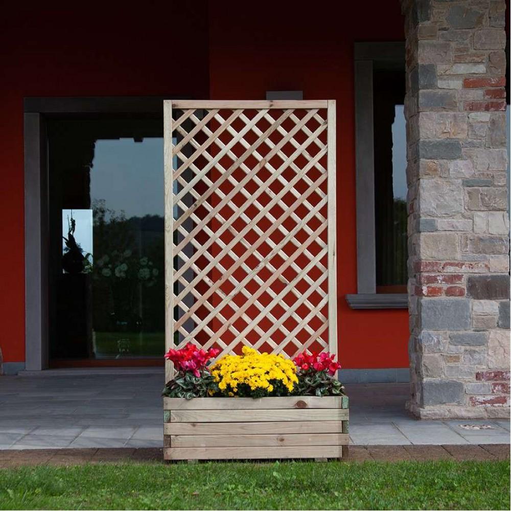 Fioriera con griglia composizione orchidea in legno 120 cm x 44 cm x h 180 cm