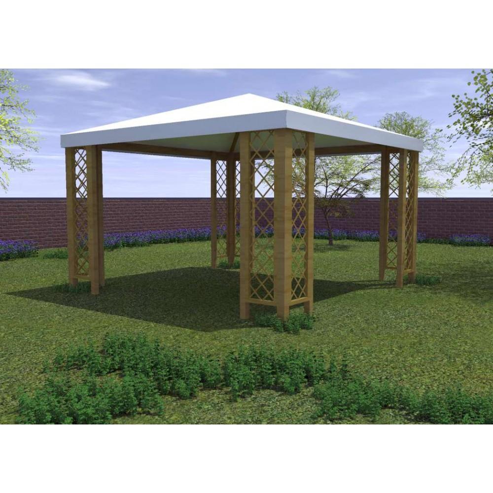 Gazebo in legno Capri  con grigliati 364 x 304 cm h. 270 cm