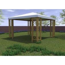 Gazebo in legno Capri con grigliati 364 x 364 cm h. 280 cm