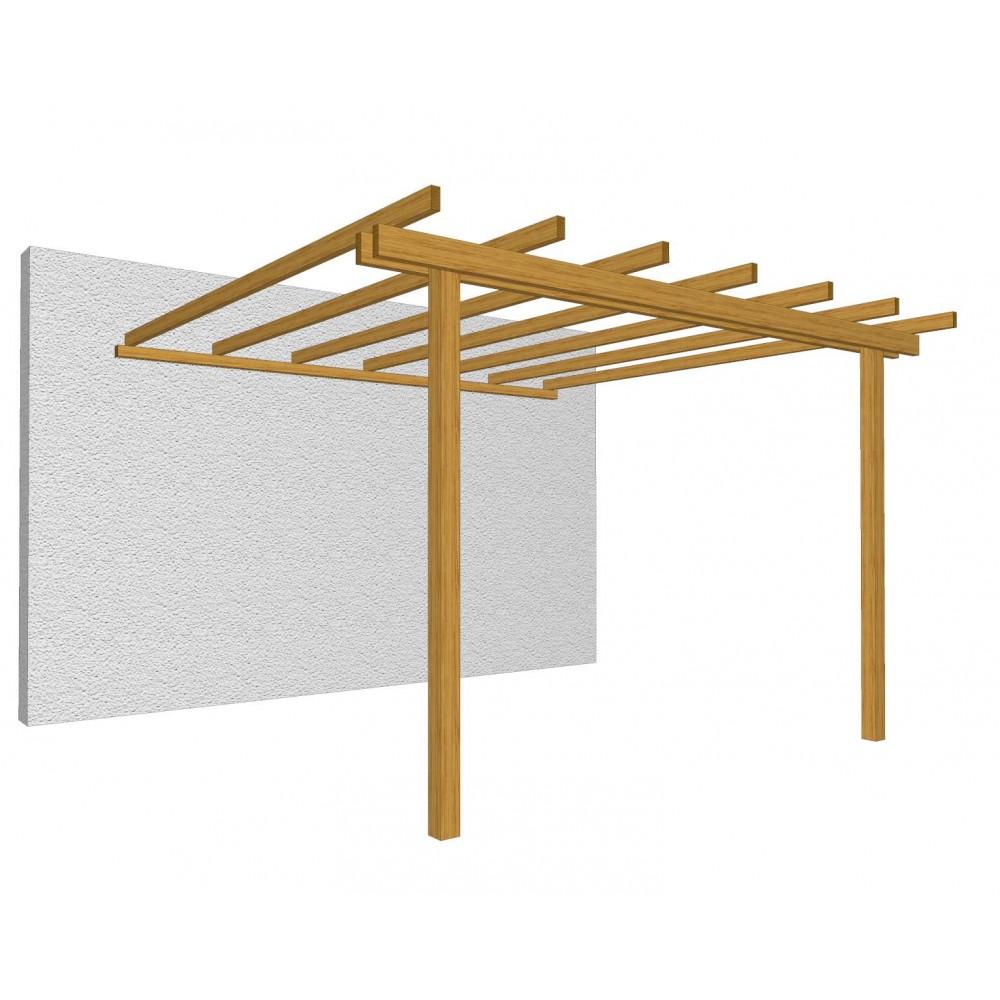 Pergola addossata in legno 400 cm x 300 cm - h 240 cm
