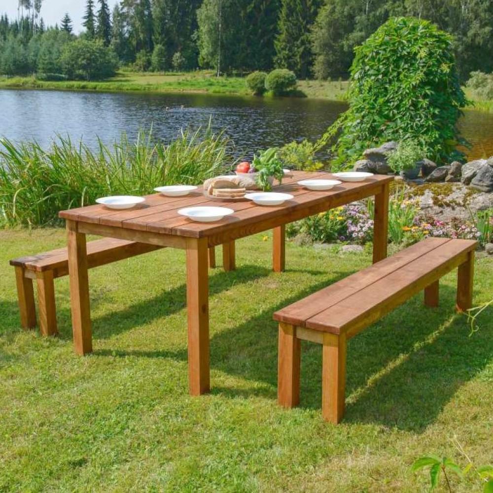 Tavoli in legno set cesis 200 cm x 78 cm x h 74 cm