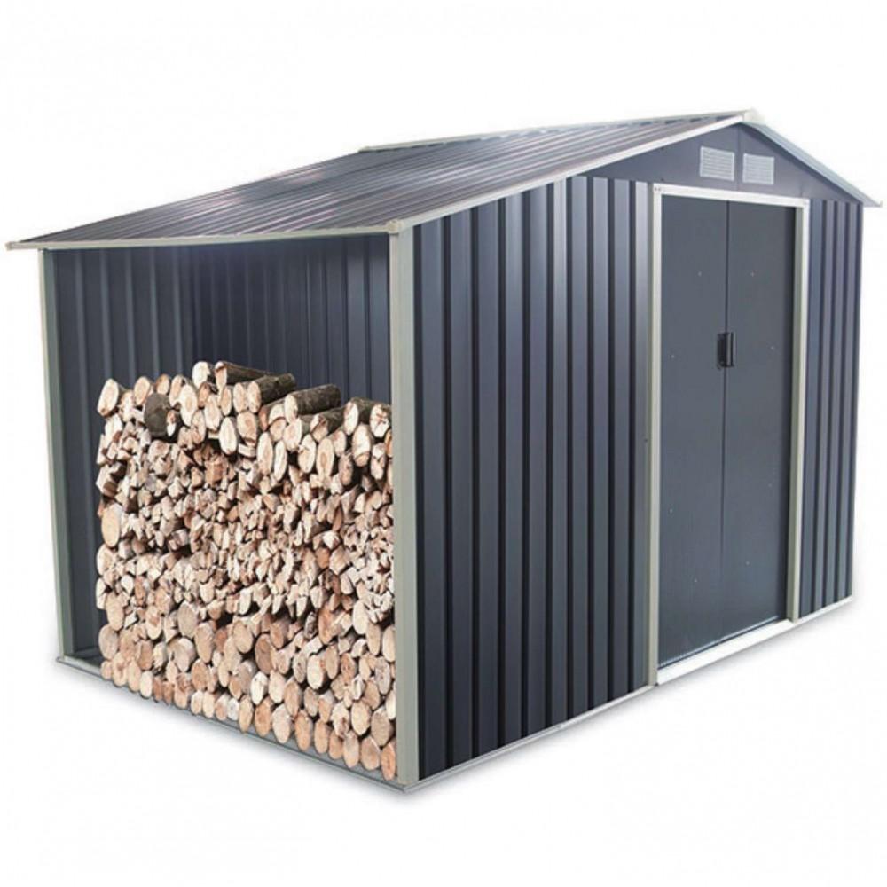 Box in acciaio zincato Gray con legnaia 278 cm x 127 cm x h 195 cm