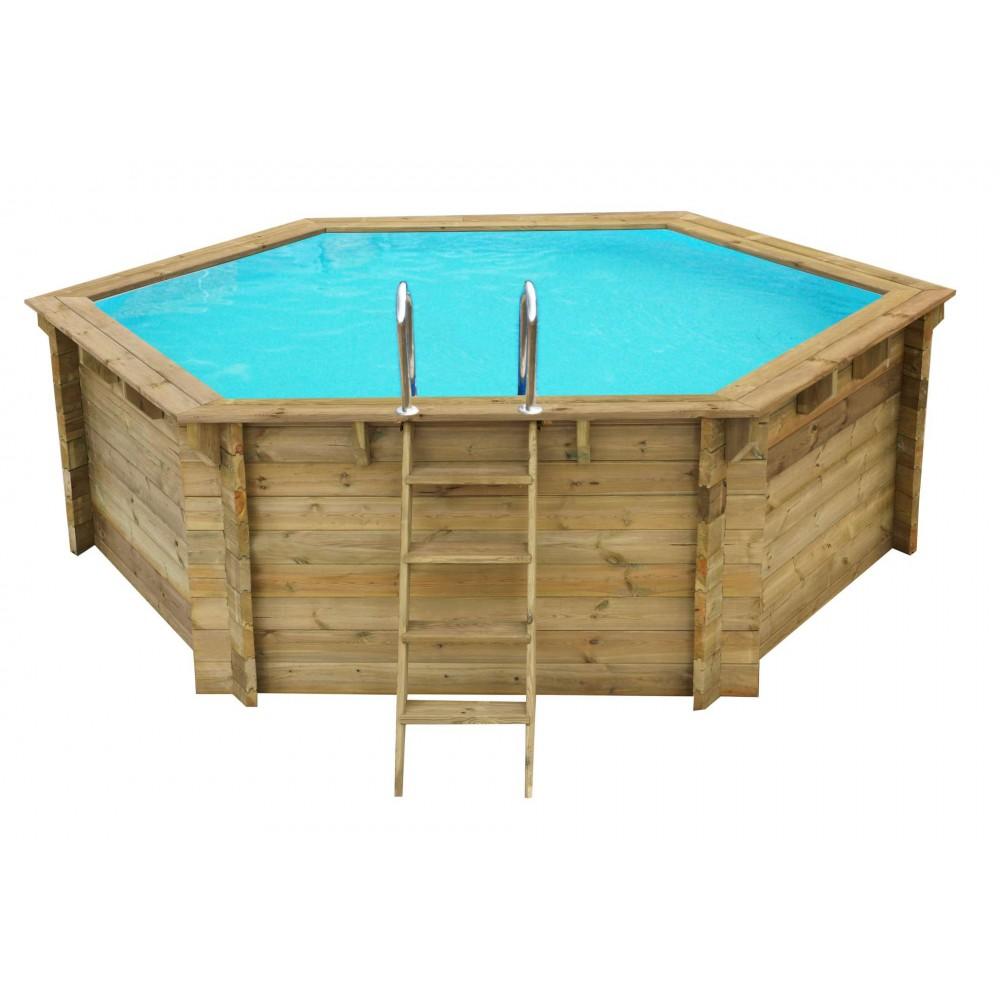 Piscina Losa in legno esagonale Ø 360 cm - h 114 cm