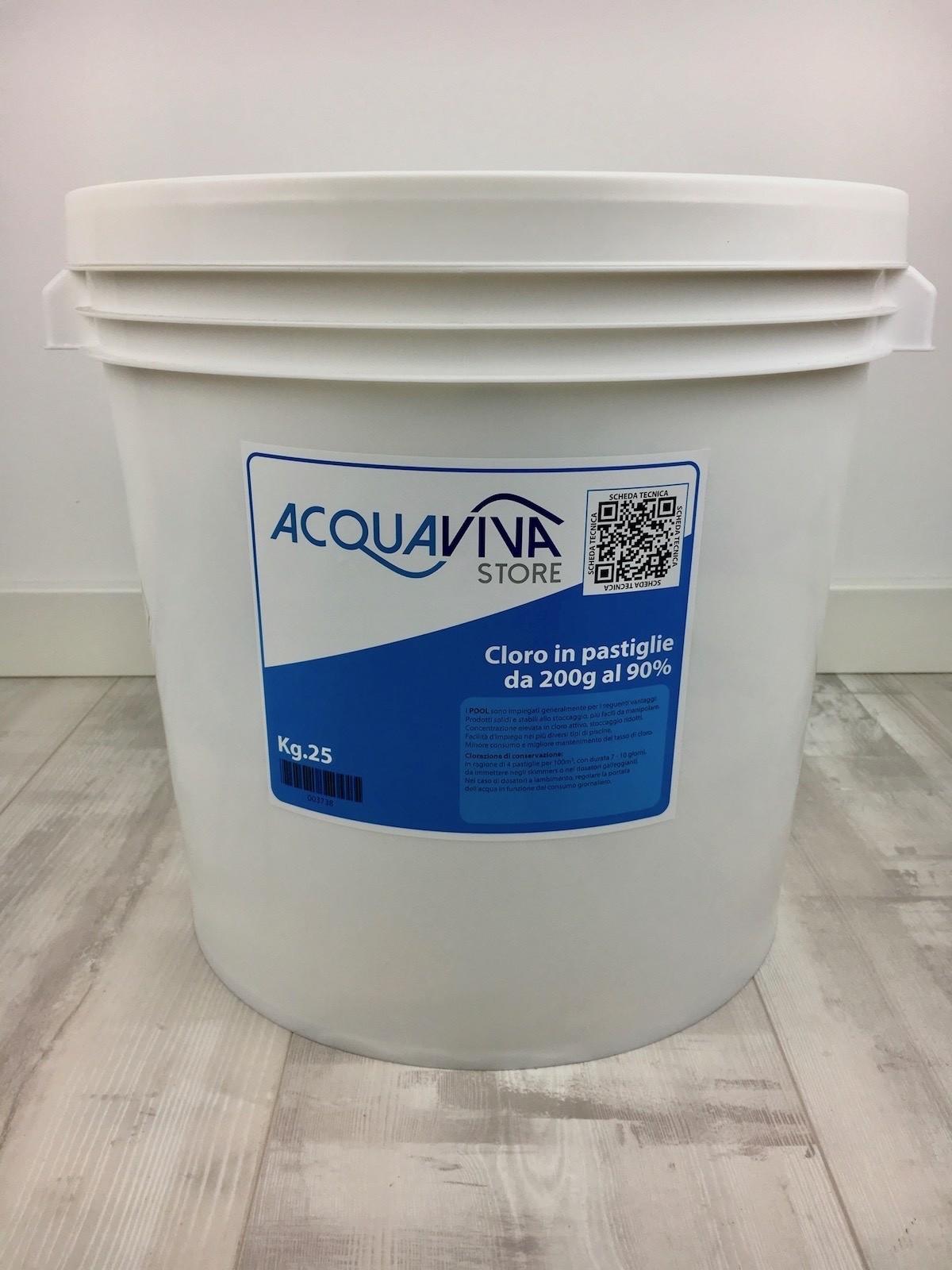 Tricloro cloro in pastiglie 25kg per piscina acquaviva - Cloro in piscina ...