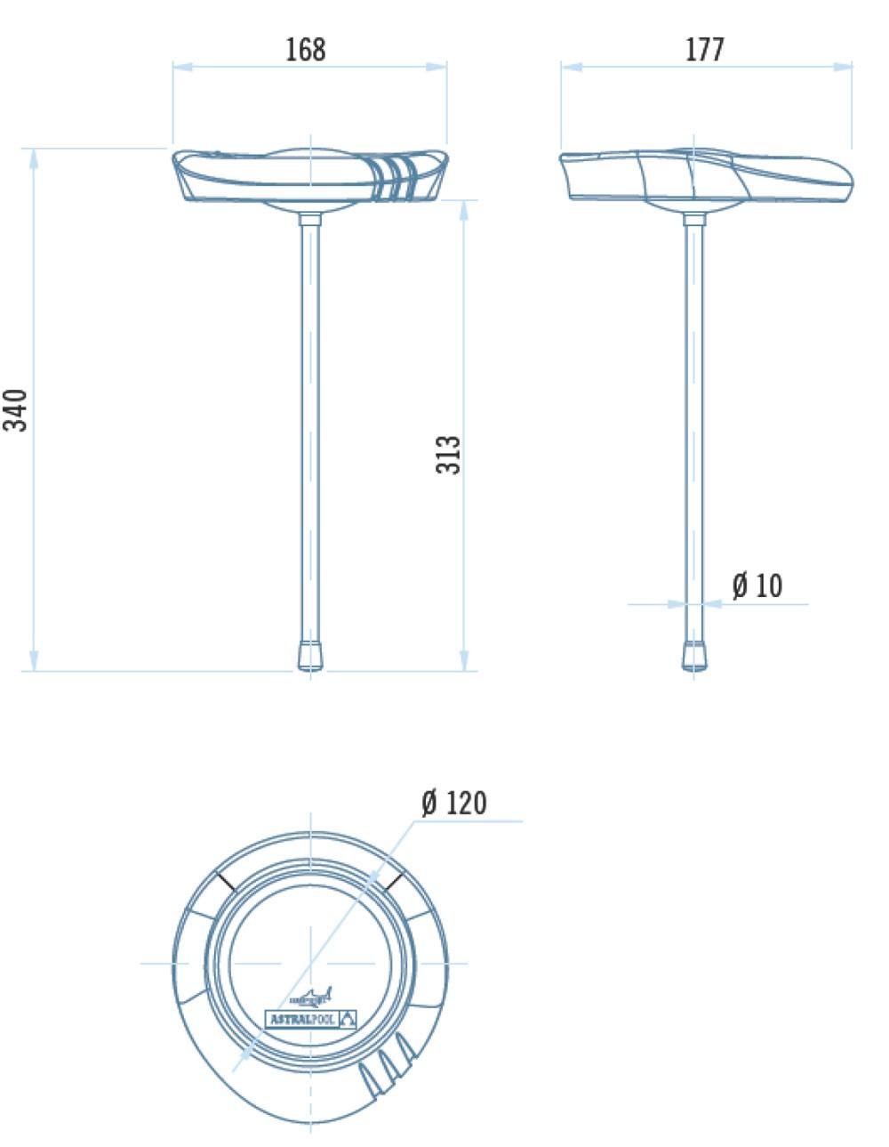 Termometro analogico per piscina Shark Astralpool dimensioni